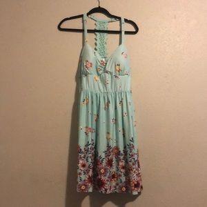 Teal floral-print summer dress